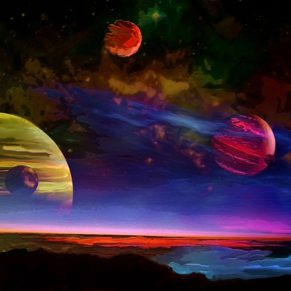 Space Fantasy Art - Moons of Jupiter - Don White Art Dreamer