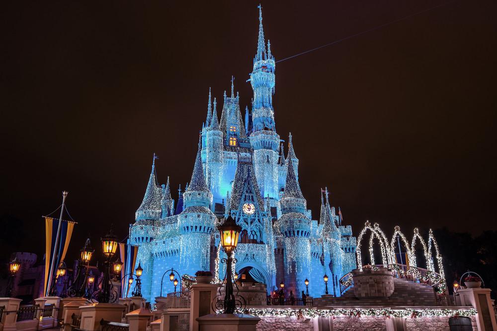 Teal Cinderella Castle at Christmas - Walt Disney Christmas Art