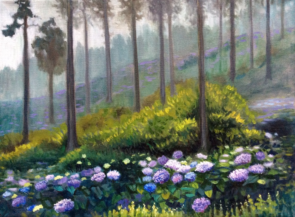 Hydrangeas in the Mist Fine Art Print by Hilary J. England