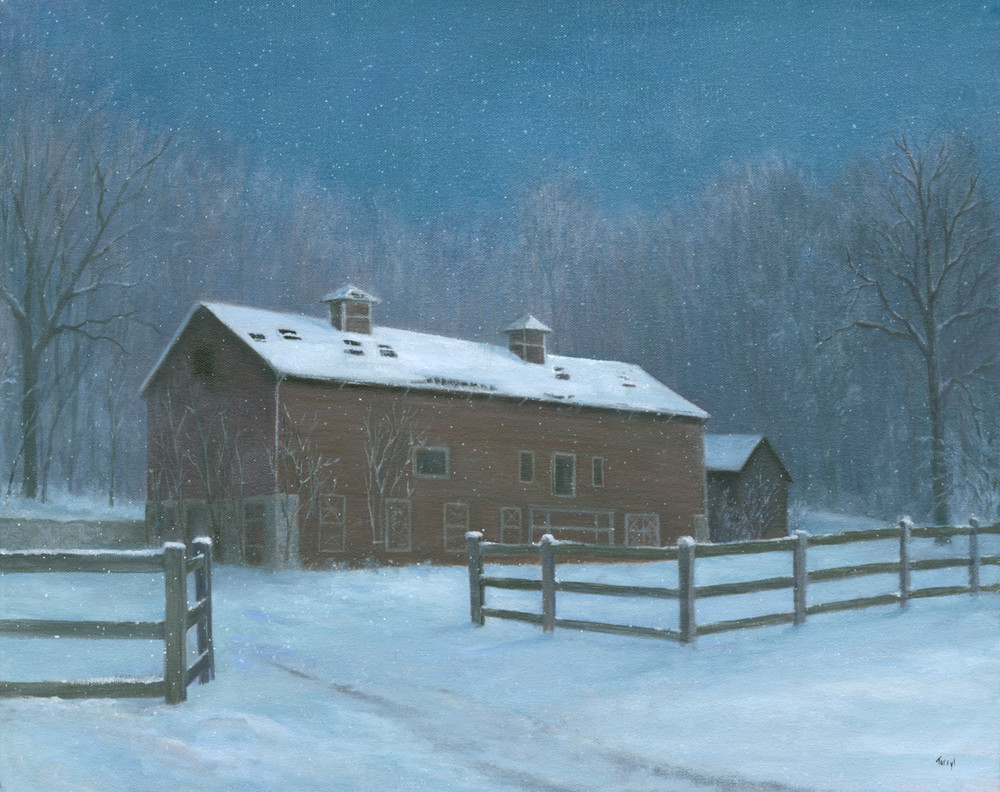 old-barn, red-barn, nocturne, nocturne-painting, winter-scene