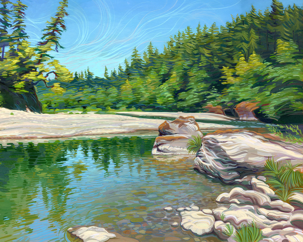 Crooked Branches - a Chetco River painting by Spencer Reynolds
