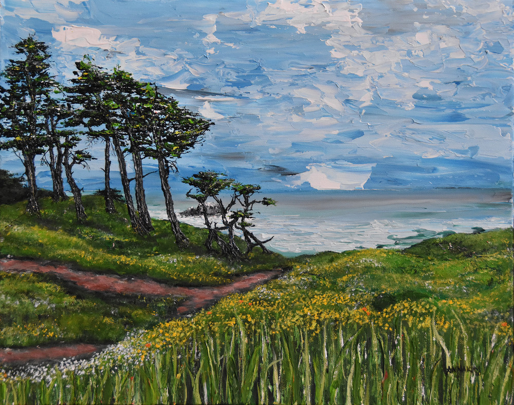 San Francisco California Lands End and Cypress Trees Art Painting - Original Painting - Fine Art Prints on Canvas, Paper Metal and More