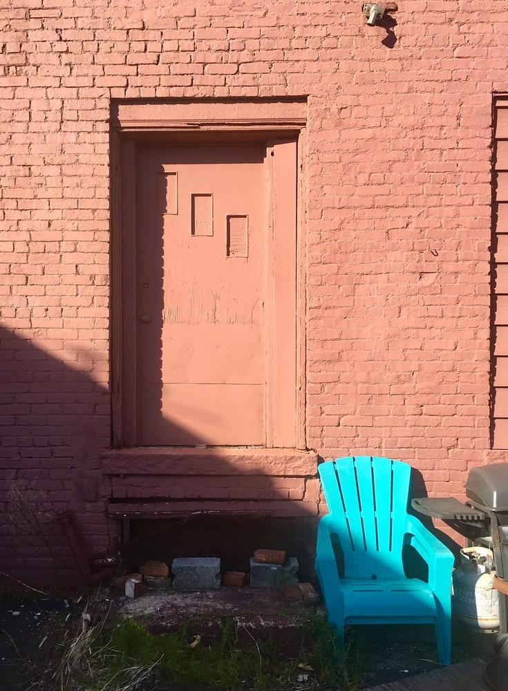 Door With Blue Chair Art   Allan Gorman Fine Art