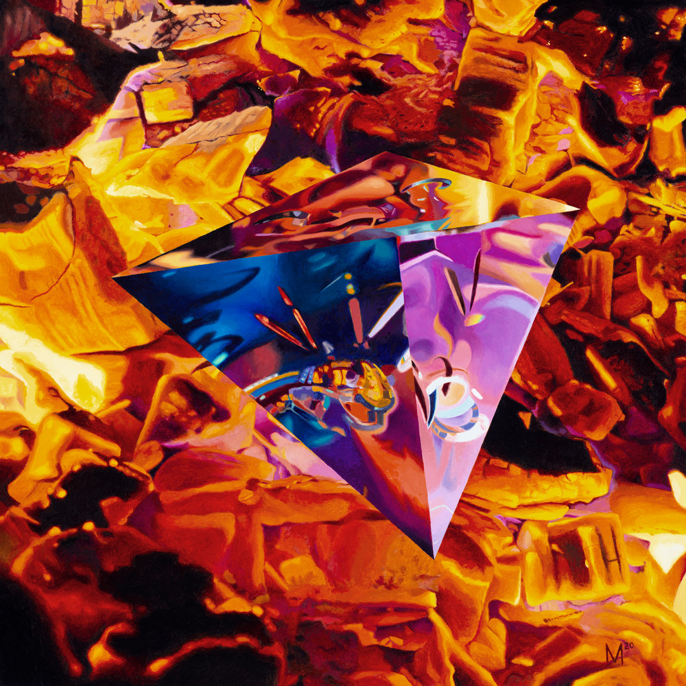Tetrahedron/Fire, Geometric Painting, The Art of Max Voss-Nester