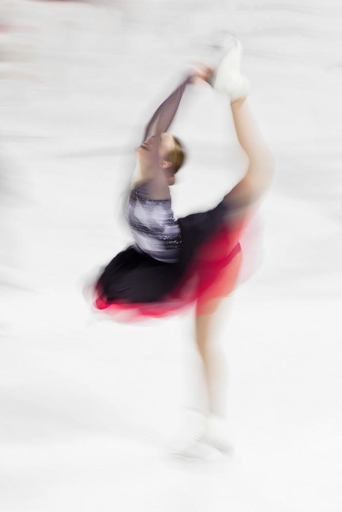 """Team Delaware Collegiate SST I"" Figure Skater Biellman Spin Fine Art Photograph, Synchro Skating Photography, Synchronized Team Skaters Artwork"