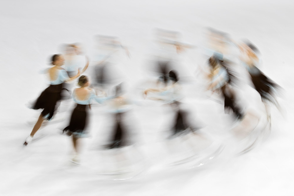 """Starlights Junior Short I"" - Fine art synchronized skating photography, large wall decor, figure skating artwork, skaters photograph print"
