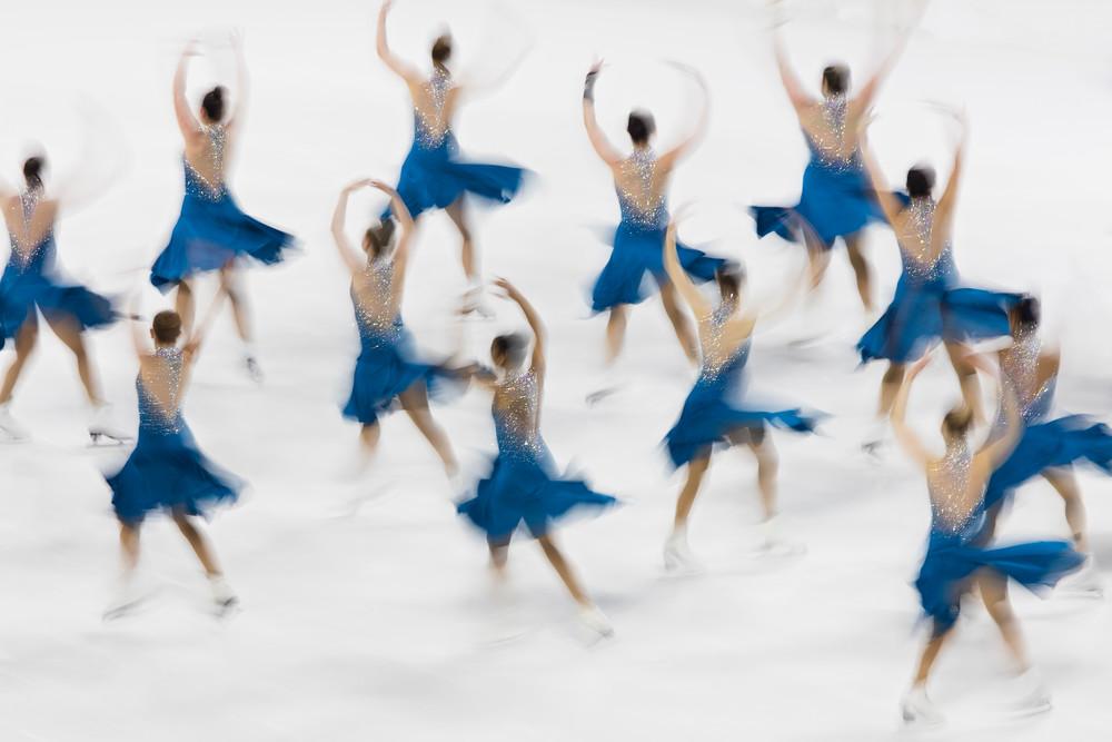 """Team Excel Collegiate I"" Fine Art Synchro Skating Photographs, Large Ice Skating Art Prints, Original Synchronized Skating Artwork"