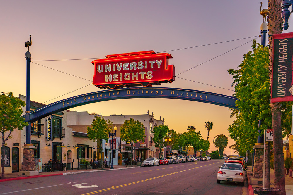 University Heights, San Diego Sign Sunset 1 Art   McClean Photography