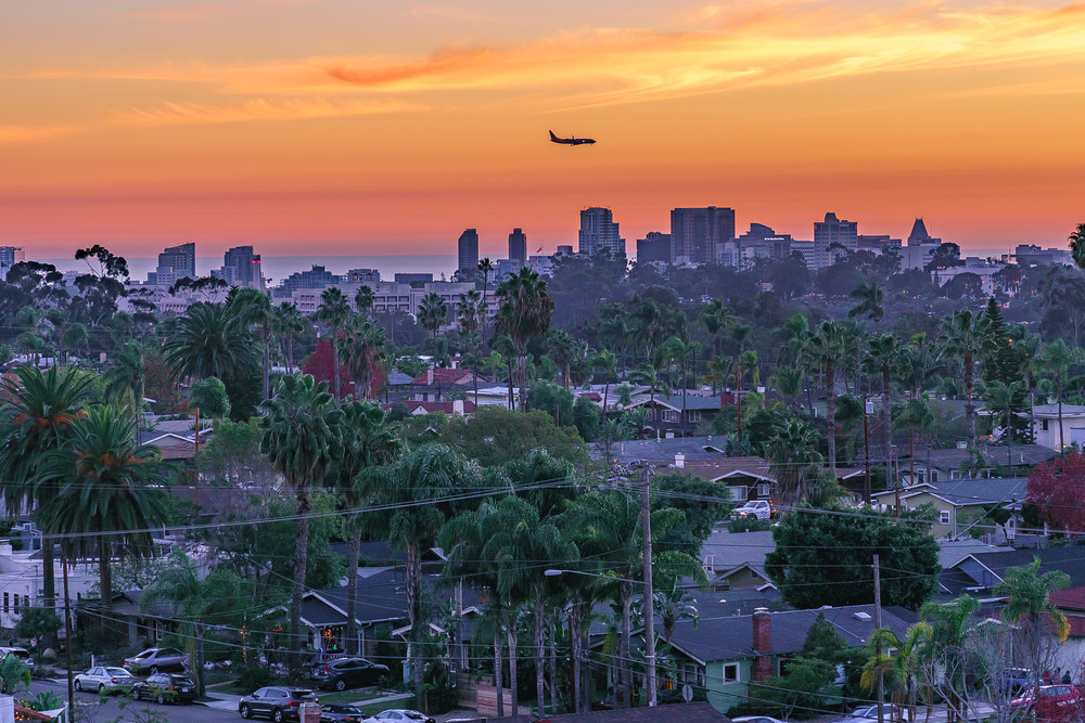 Air Plane Sunset from North Park, San Diego by McClean Photography