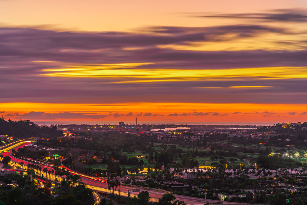 Sunset with Lighstreaks at University Heights, San Diego by McClean Photography
