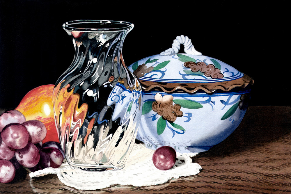 Covered Pot With Crystal Art | Gary Curtis Watercolors