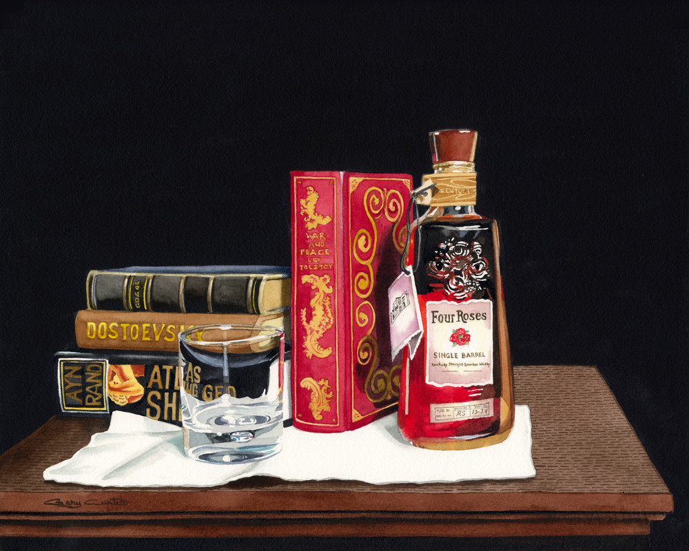 Four Roses For Four Authors Art | Gary Curtis Watercolors
