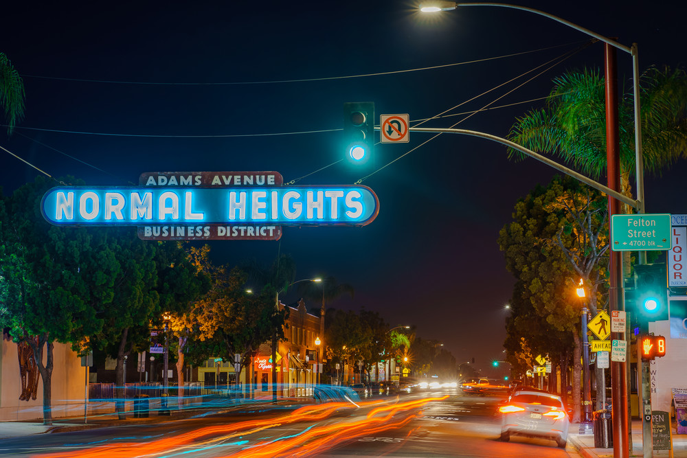 Normal Heights Sign At Night 4 24 2020 Art | McClean Photography