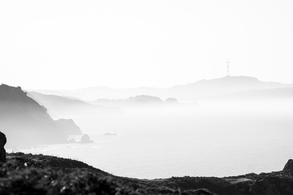 Just a Glimpse - Black and White morning look across the water in Northern California photograph print