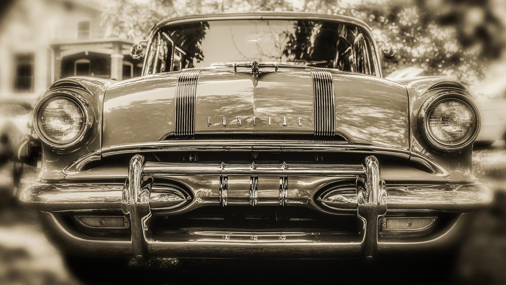 1955 Pontiac Chieftain Bw Photography Art | Happy Hogtor Photography