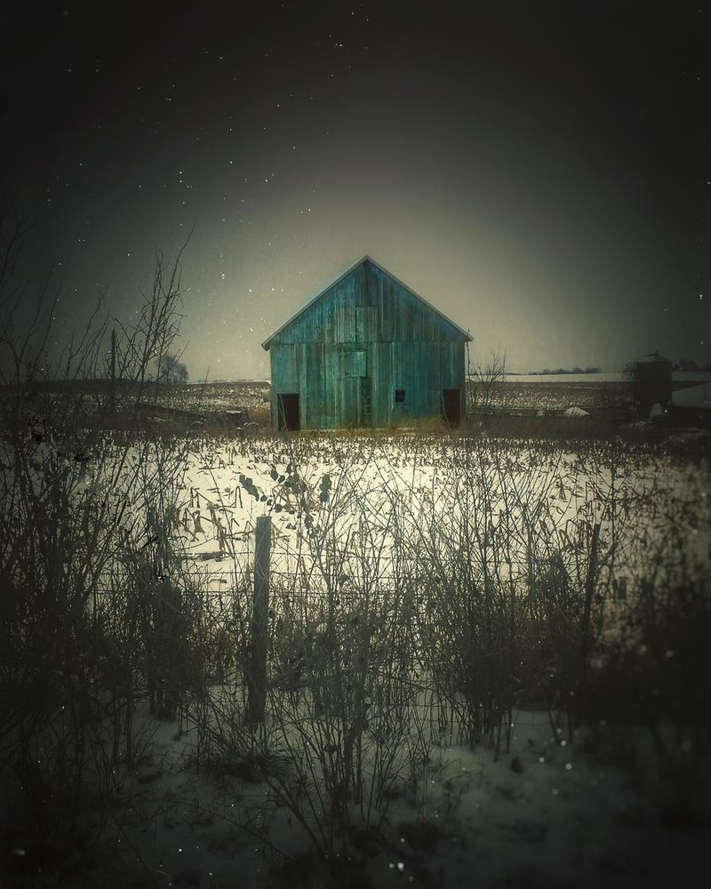 Blue Barn In Snow 2 Photography Art | Happy Hogtor Photography