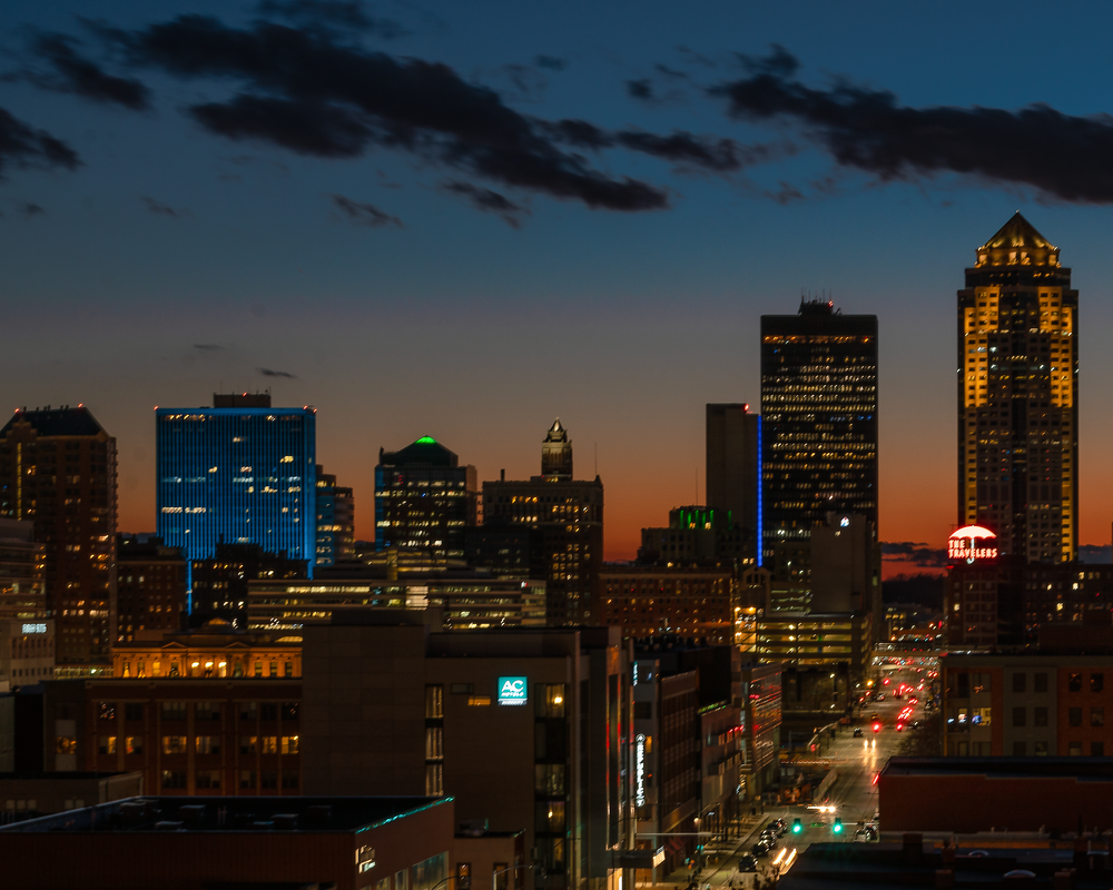 Downtown Des Moines Sunset Photography Art | Happy Hogtor Photography
