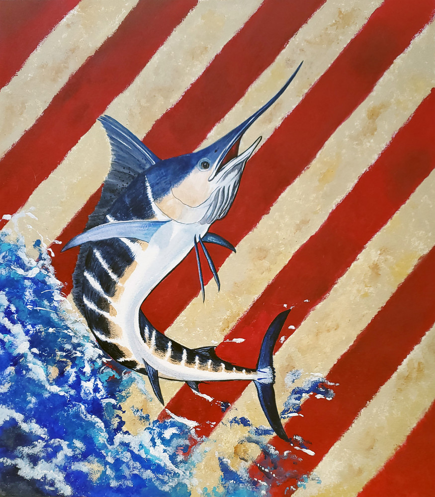 Striped Marlin Red, White 'n Blue Art | Alice MC