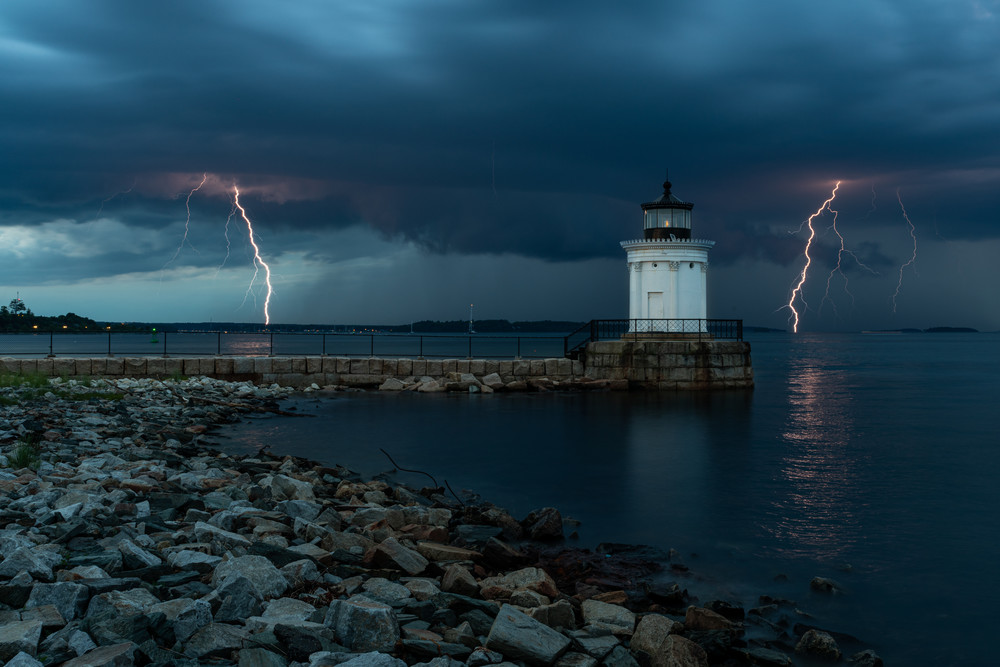 Lightning Strikes At Bug Light Photography Art | Jesse MacDonald Photography