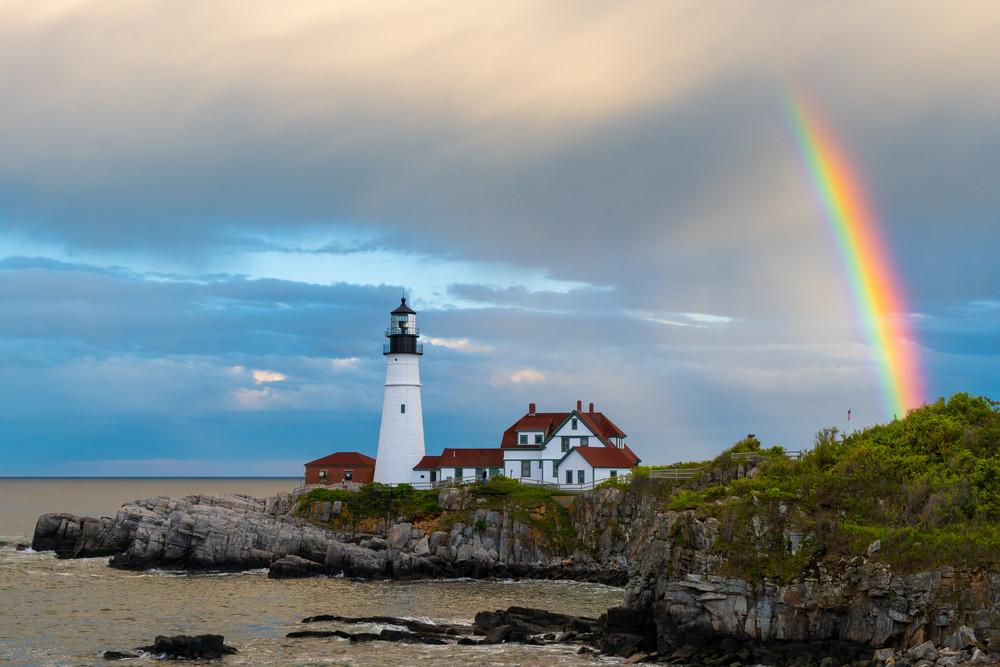 Rainbow Over Portland Head Light Photography Art | Jesse MacDonald Photography
