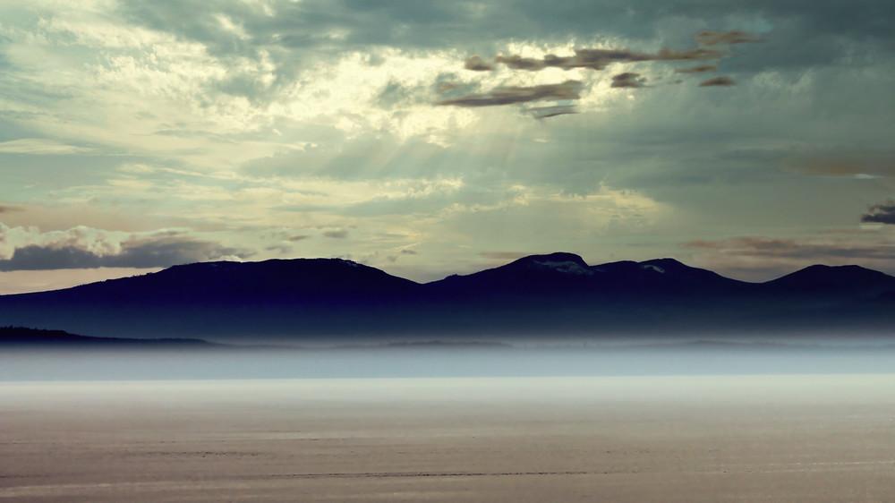 Misty Sea Mountains  Photography Art   CJ Harding