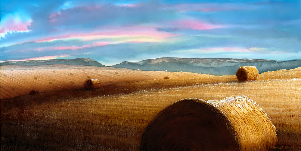 Rollin' Snowys is a watercolor of Central Montana's hay bales and big sky by artist Joe Ziolkowski.