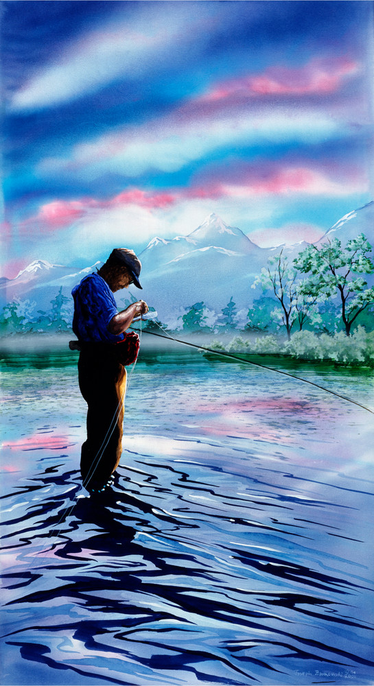Solo in Paradise, Fly Fishing art print of Yellowstone River, Paradise Valley MT. Original artwork by Montana artist Joe Ziolkowski.