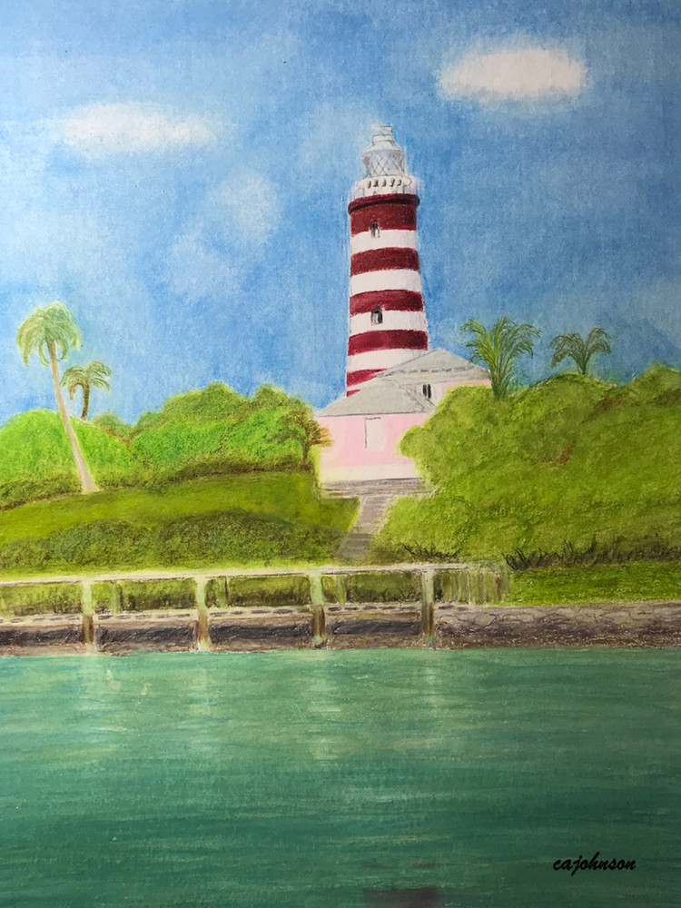 Hope Town Lighthouse, From an Original Colored Pencil Painting