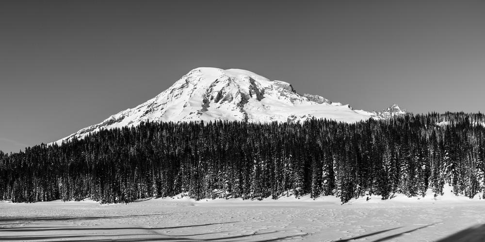 Snow Covered Reflection Lake, Mount Rainier, Washington, 2017