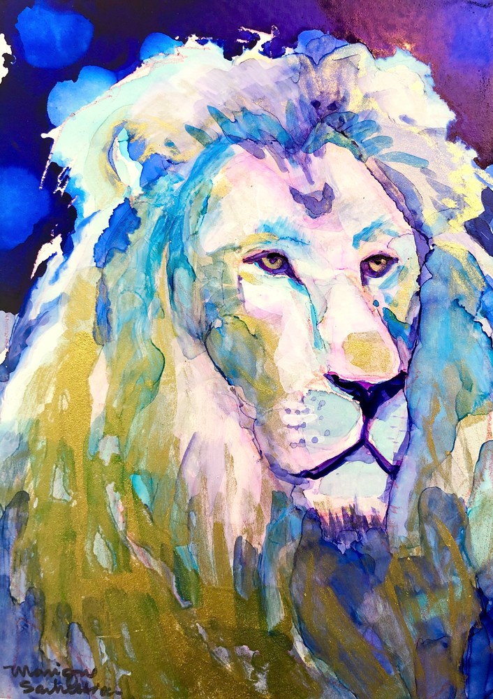 """High quality print of """"Miracles of the Majestic Ready to Roar 14""""  by Monique Sarkessian, alcohol ink painting."""