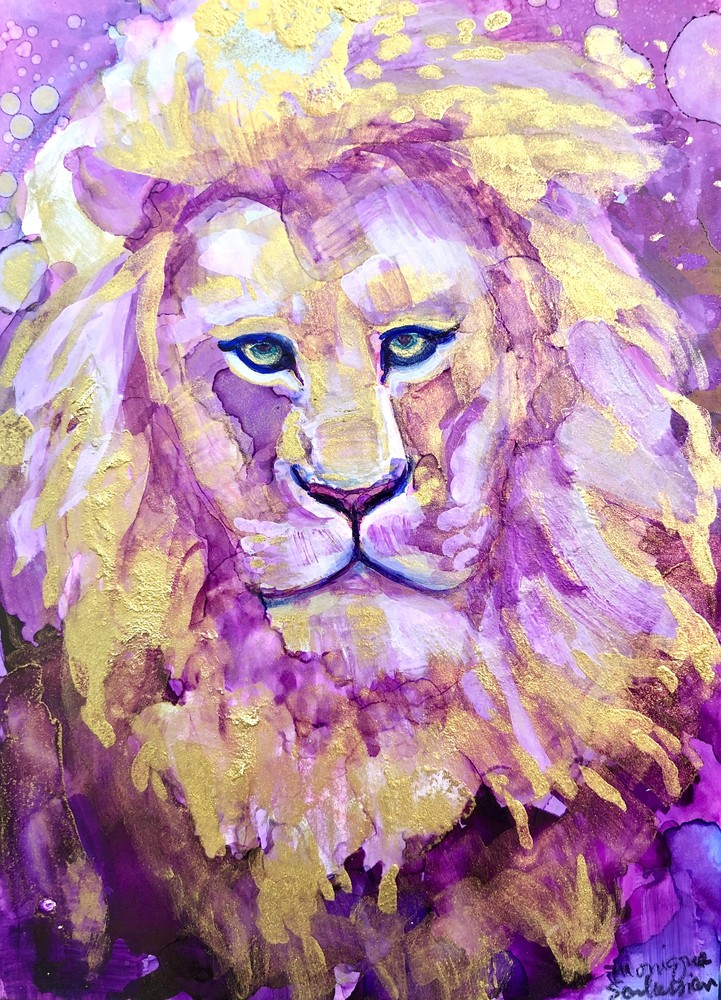 """High quality print of """"Miracles of the Majestic Ready to Roar 15"""" by Monique Sarkessian, alcohol ink painting."""