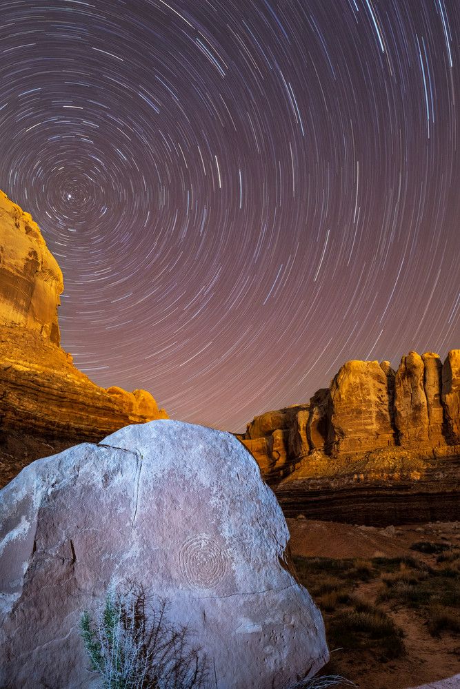 Star Trails With Spiral Petroglyph Photography Art   John Gregor Photography