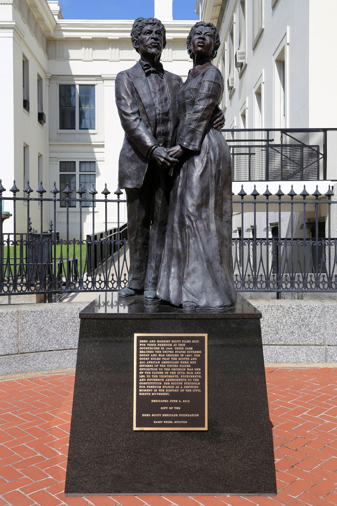 Dred and Harriet Scott Statue in Front of Historic Old Courthouse