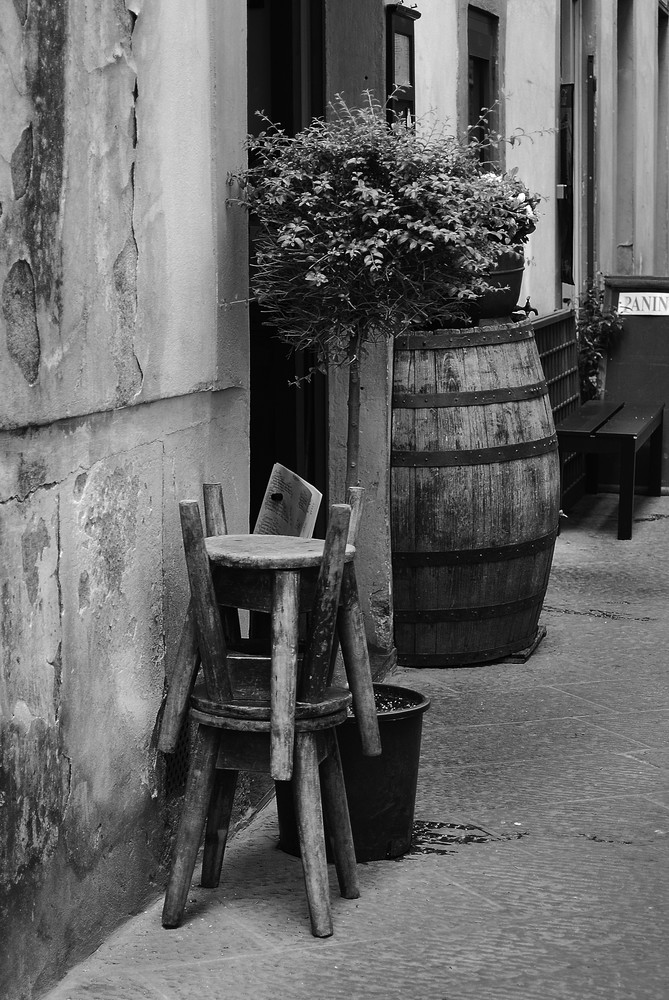 Rustic Chairs and Barrell in Italy Photograph – Photography - Fine Art Prints on Canvas, Paper, Metal & More
