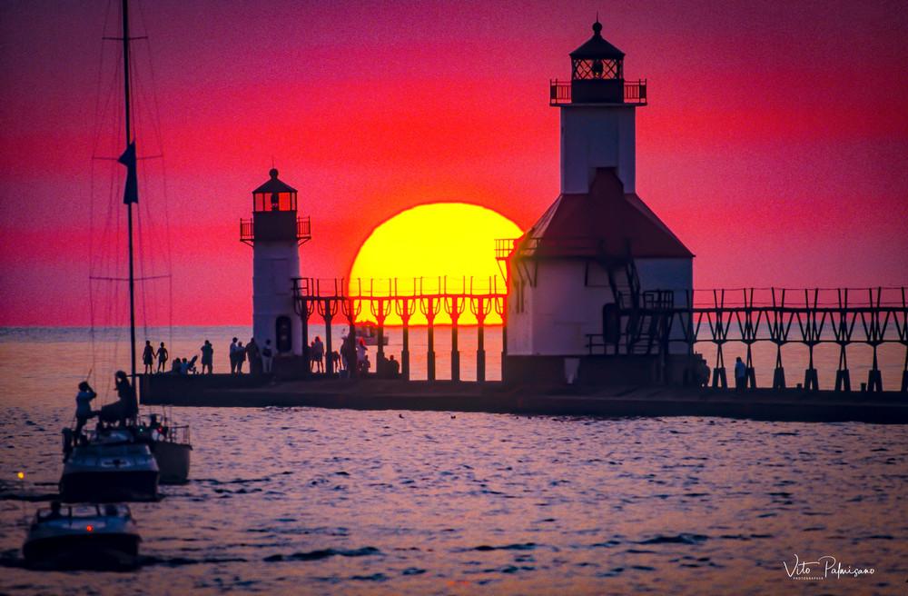 St Joseph Lighthouse Mi Sunset Photography Art | vitopalmisano