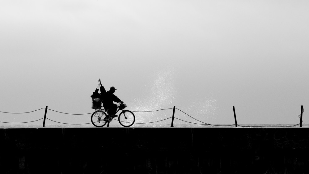 Bike On Breakwater Photography Art | Ted Glasoe, Artist