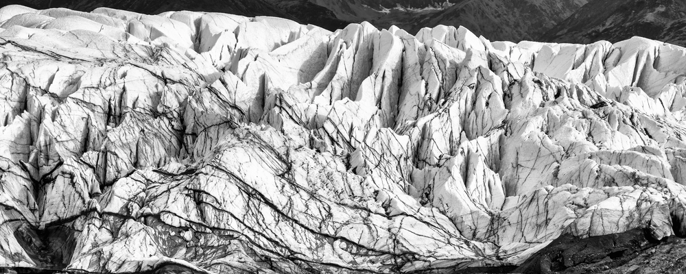 Matanusa Glacier Front Face  Bw Panorama Photography Art | Hatch Photo Artistry LLC