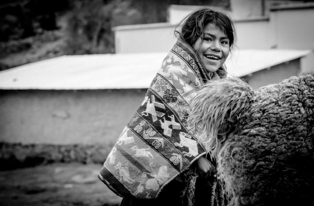 Portrait of a  villager from Lares, Peru