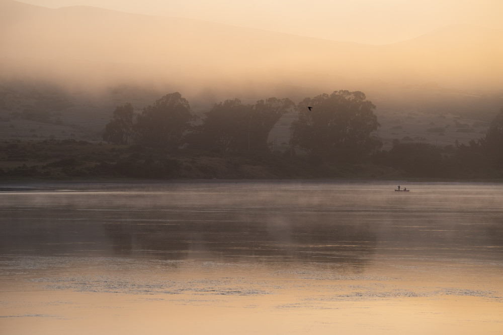 Peacefully Alone - Fisherman on Tomales Bay at sunrise photograph print