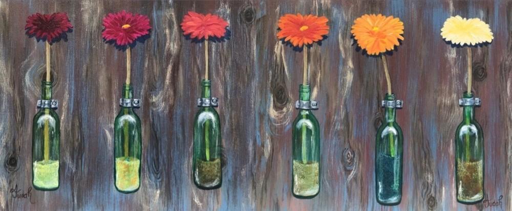 Fresh Flowers In Green Glass Bottles Art   alanajudahart