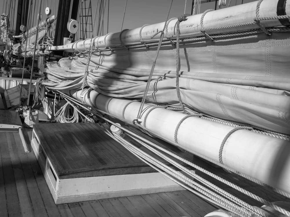 Schooner Californian - Foresail and Mainsail Flaked