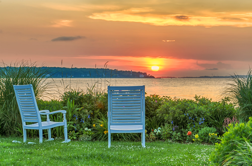 East Chop Sunset Chairs Art | Michael Blanchard Inspirational Photography - Crossroads Gallery