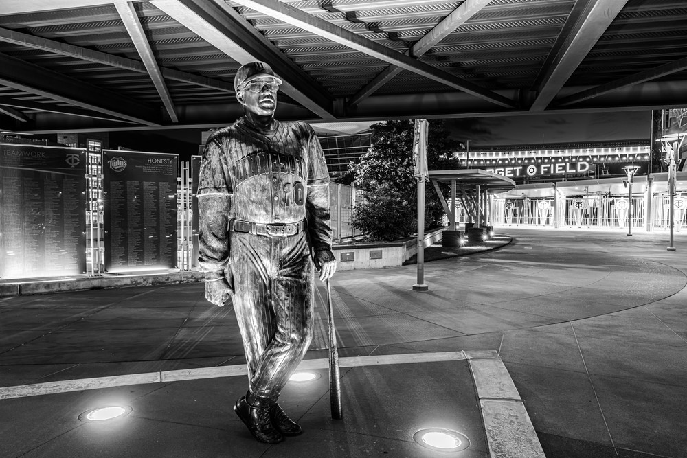 Tom Kelly Statue At Target Field Black And White Photography Art | William Drew Photography