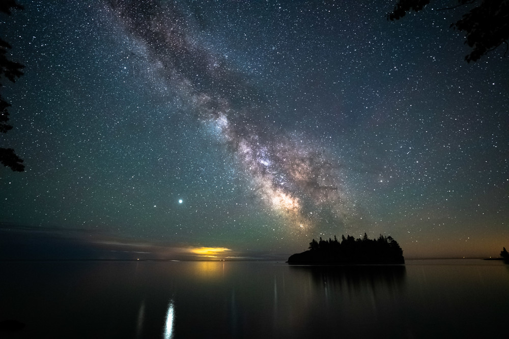 Jupiter And The Milky Way Over Ellingson Island Photography Art | William Drew Photography