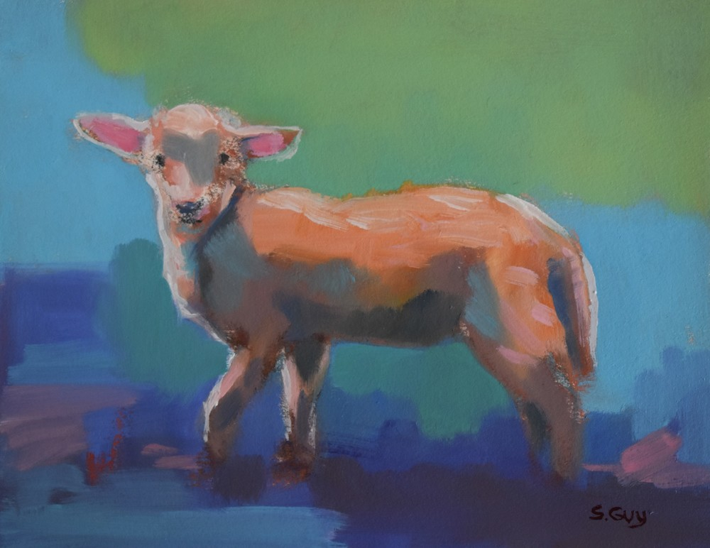 Lamb On Blue Art | Sharon Guy