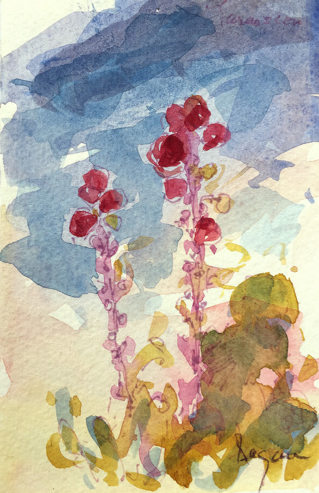 Hollyhock Dance Art | Dorothy Fagan Joy's Garden