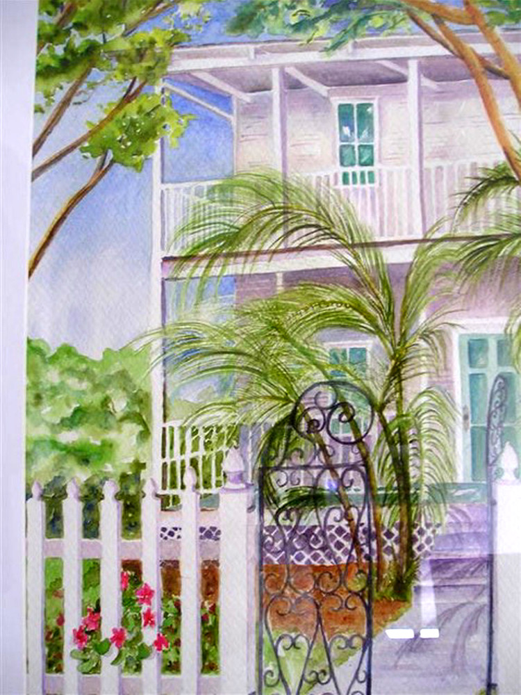 Open Gate House, From an Original Watercolor Painting