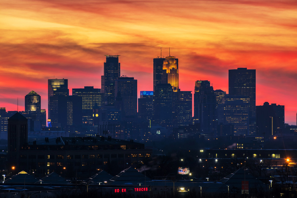 Minneapolis Skyline Clouds On Fire Photography Art | William Drew Photography