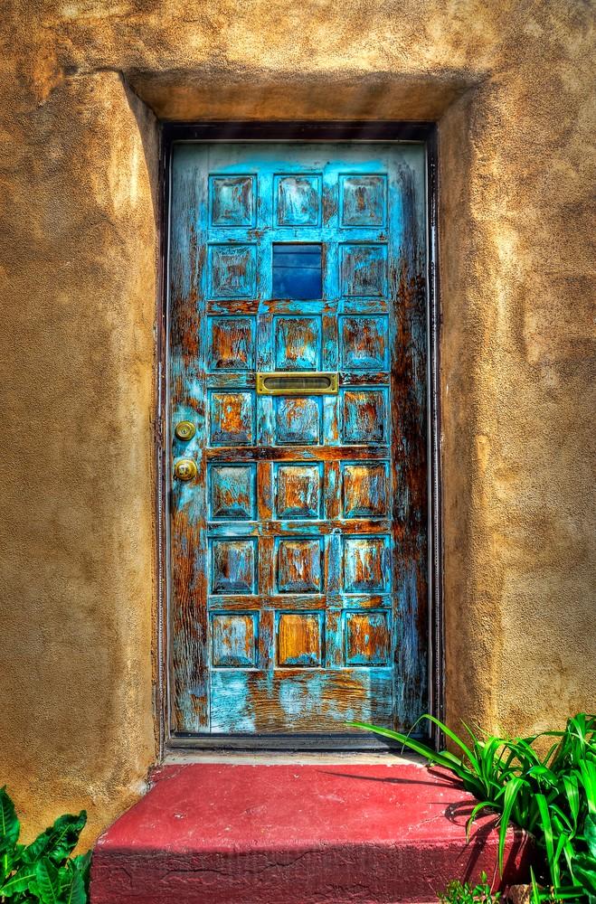 Blue Santa Fe Door Photography Art | Ken Smith Gallery