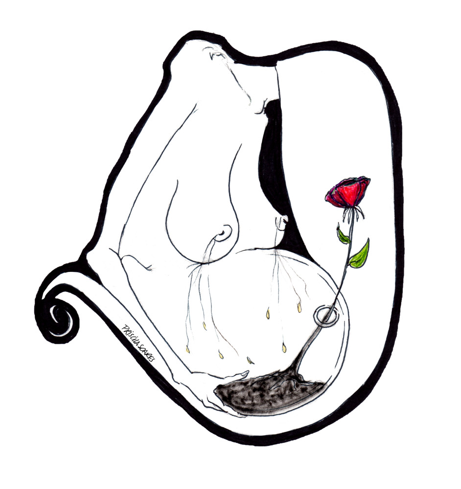 Fertility Painting - Pregnant woman with Rose